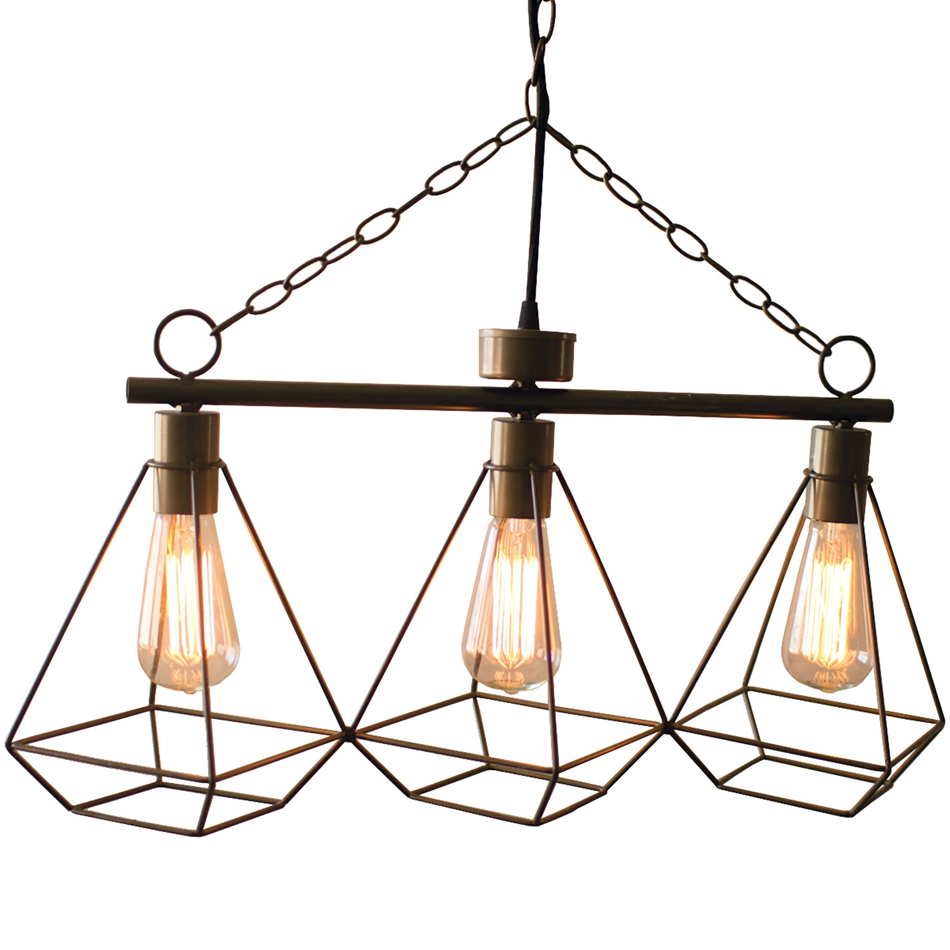 Industrial Modern Three Light Geometric Pendant Chandelier