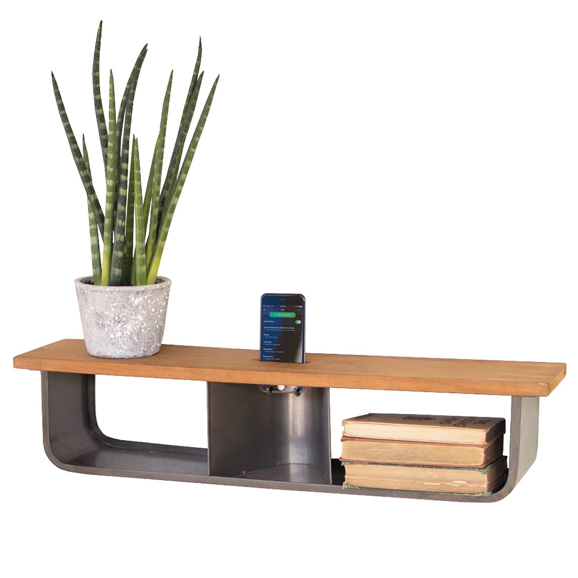 industrial modern wall shelf with acoustic iphone smartphone  - industrial modern wall shelf with acoustic iphone smartphone speaker