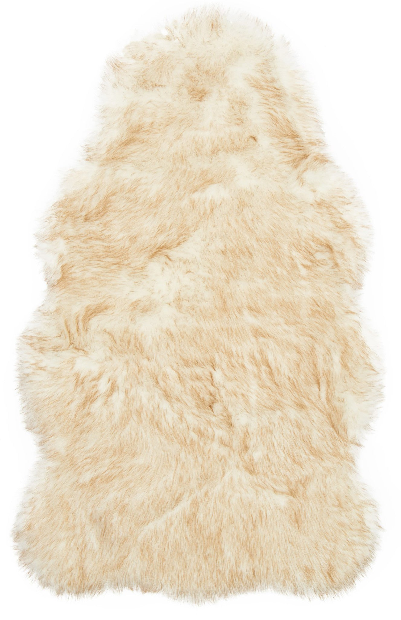 Ivory White Beige Faux Sheepskin Boho Fur Rug - Chair Cover