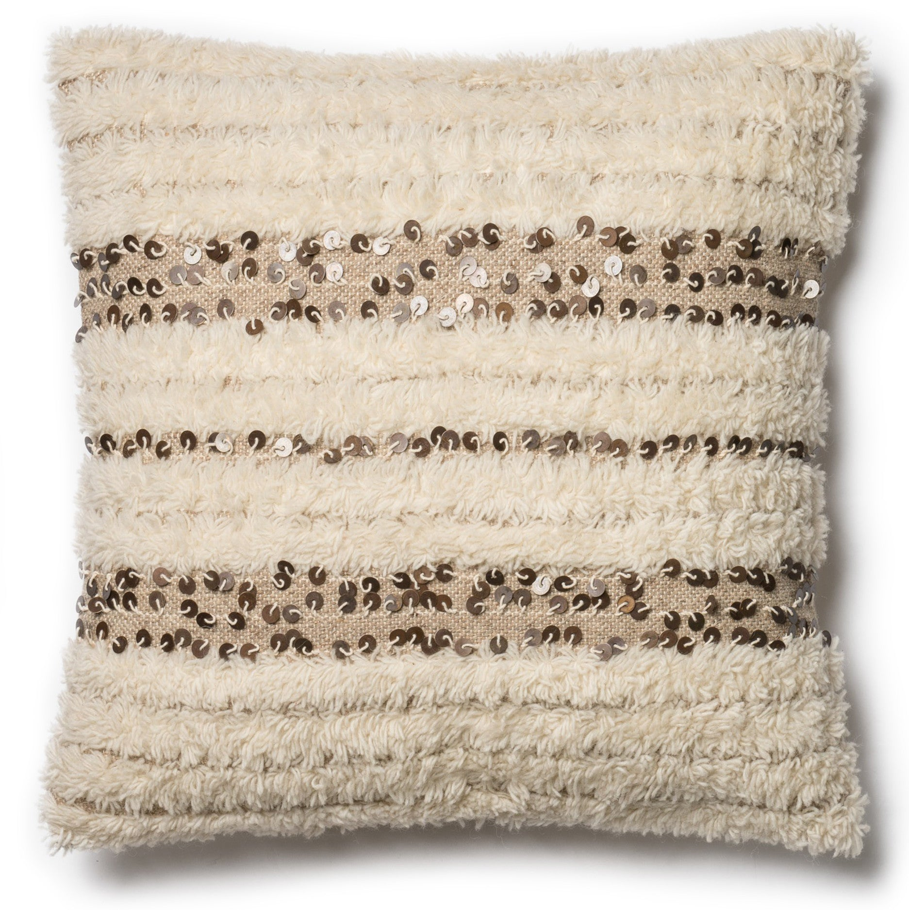 Modern Beige Shag Pillow With Metal Accents