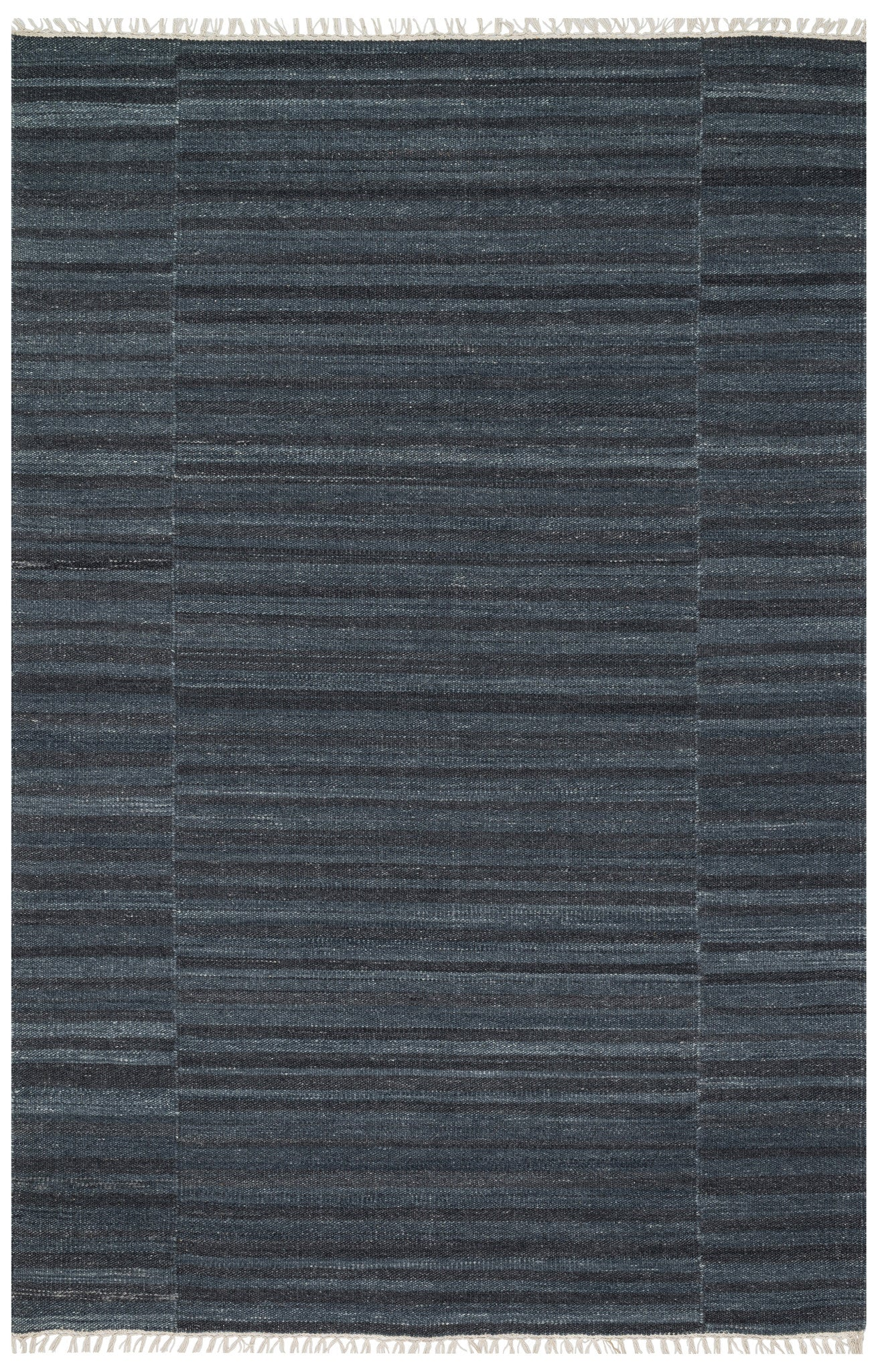 Modern Charcoal Deep Blue Flatweave Rug With Fringe