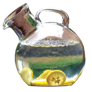 Modern Circular Tilted Glass Beverage Pitcher