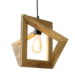 Modern Geometric Wood Pendant Lamp