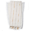 Modern Ivory and Beige Throw Blanket with Fringe