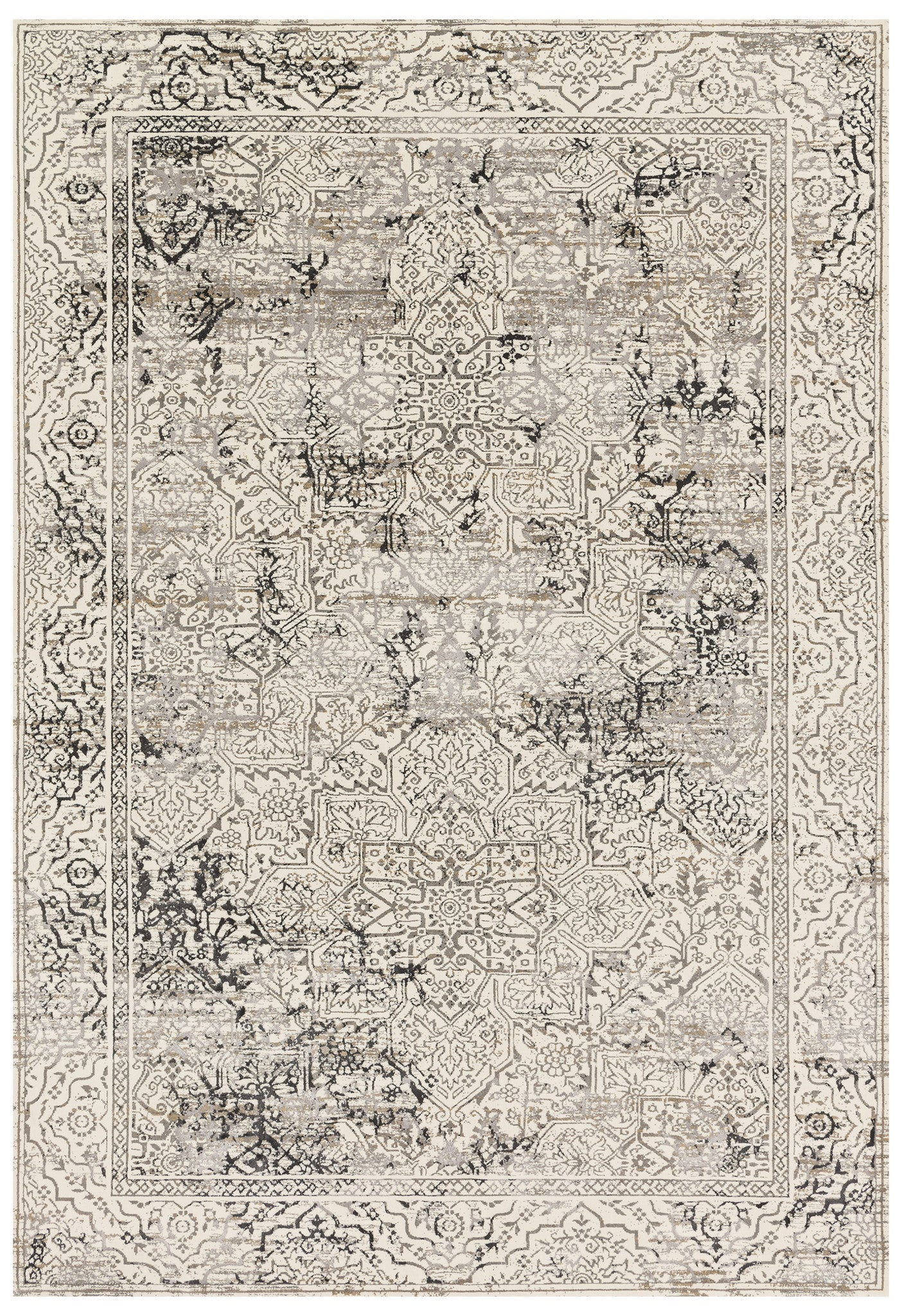 Modern Ivory And Gray Faded Persian Rug Woodwaves