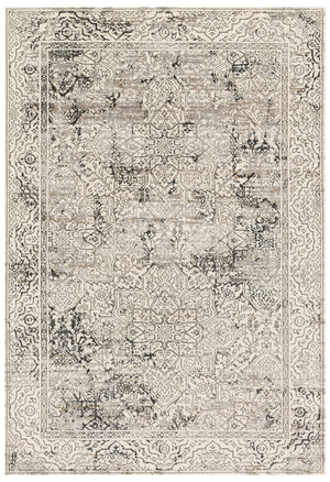 Modern Ivory and Gray Faded Persian Rug