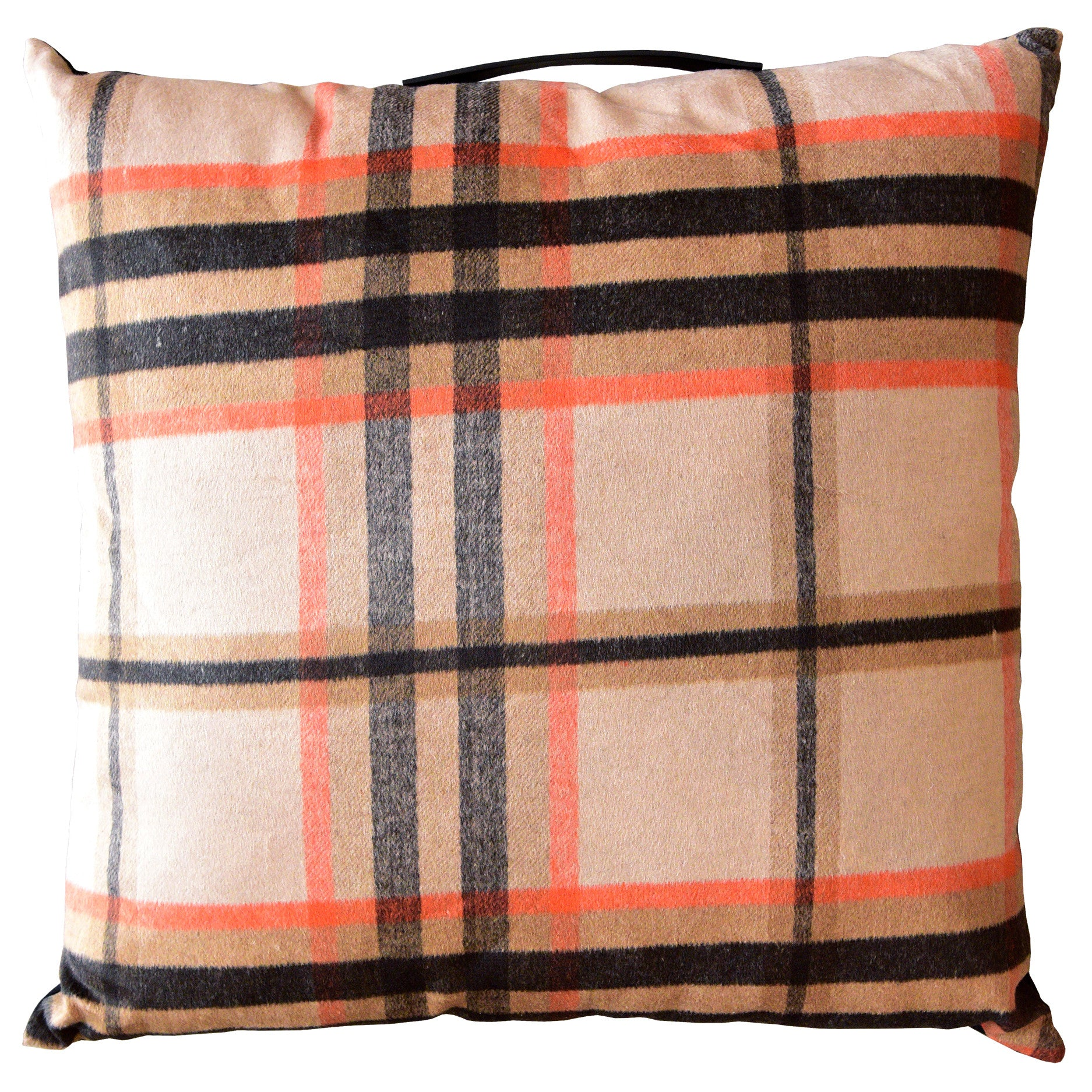 Orange Brown Plaid Floor Pillow Cushion With Handle - Woodwaves