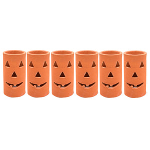 Orange Clay Halloween Jack-O-Lanterns - Set of Six