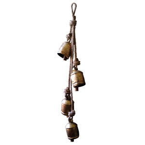 Rustic Iron Hanging Bells With Rope