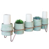 Set of 5 Green Clay Candle Holders / Planters With Copper Finish Base