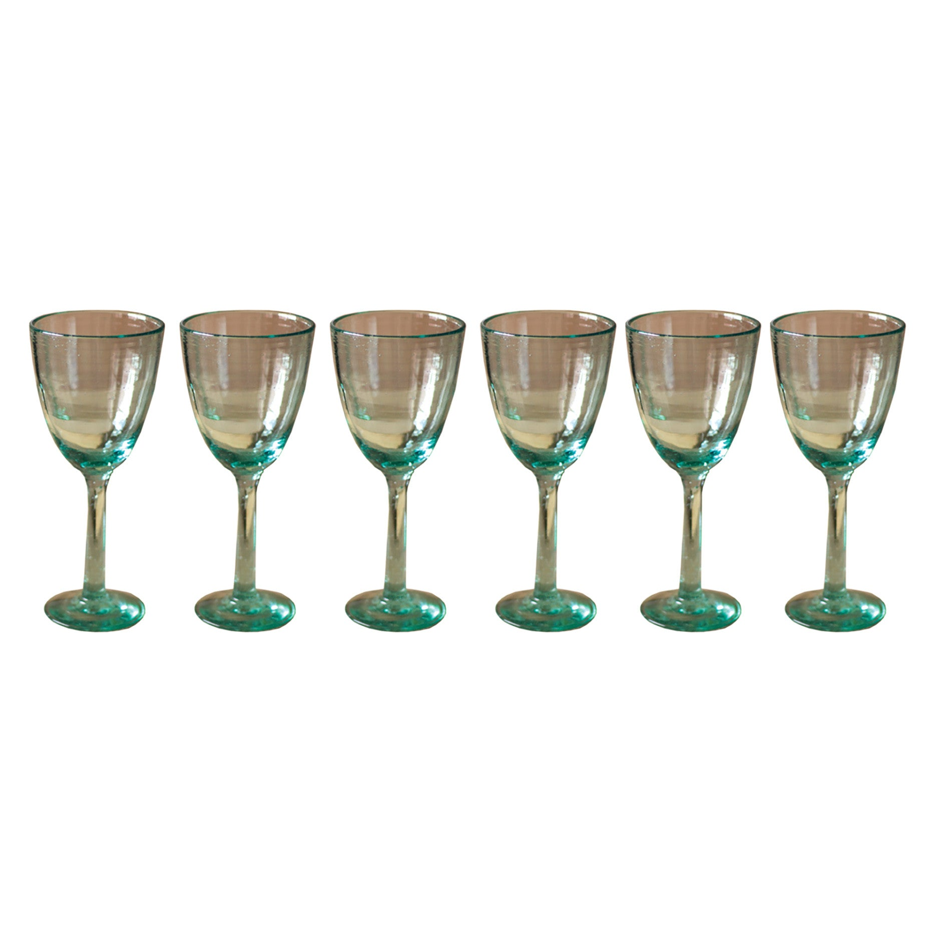 Set of Six Recycled Glass Wine Glasses