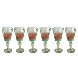Modern Farmhouse Cottage Chic Wine Goblet Glasses - Set of 6