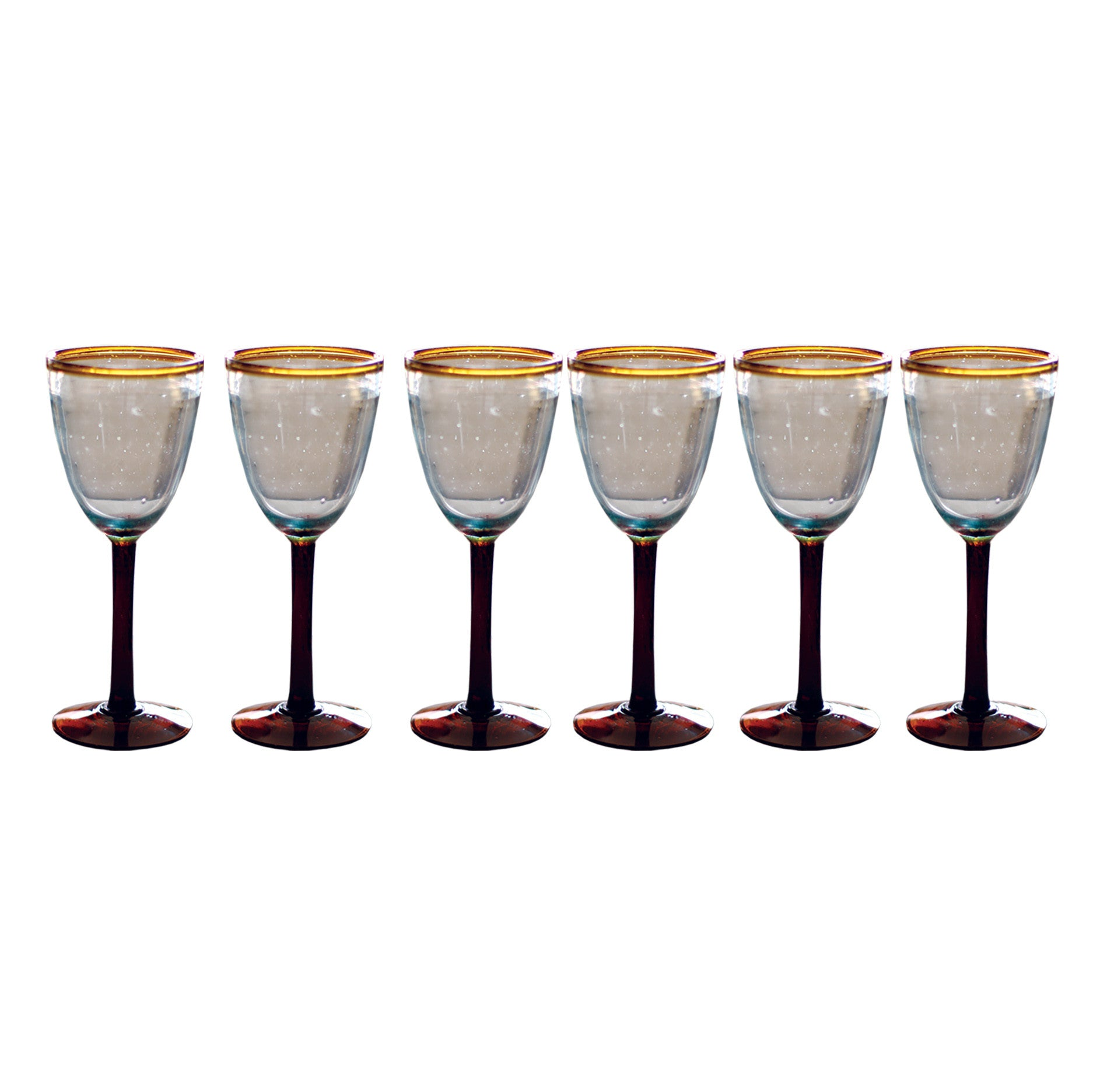 Set of Six Wine Glasses With Amber Rim