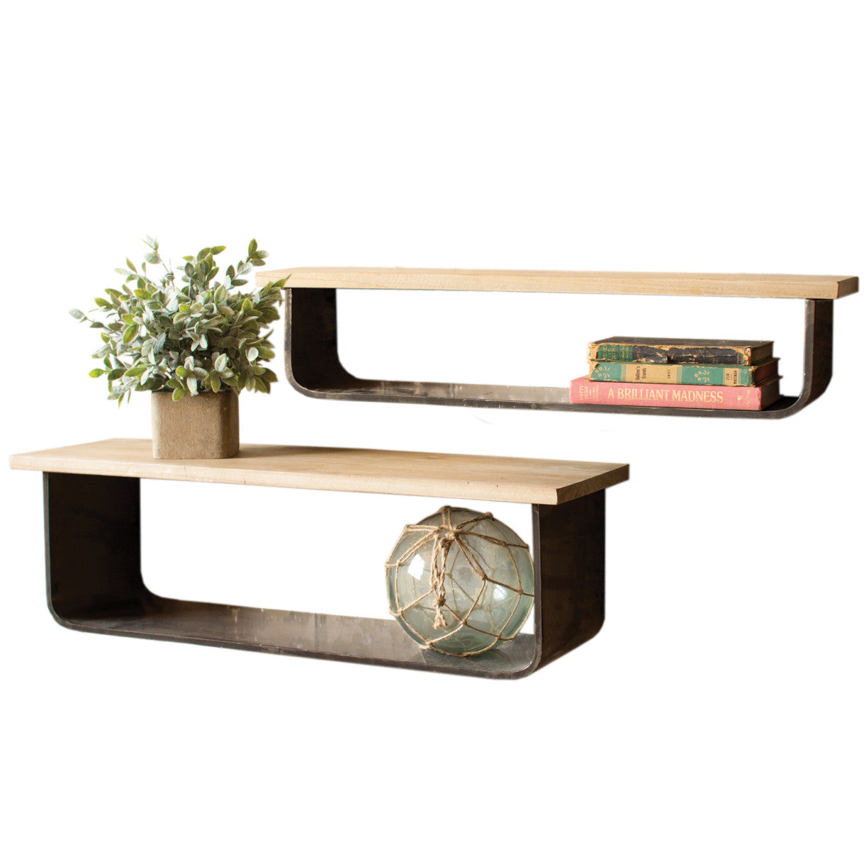 Wall shelves storage woodwaves set of two industrial modern metal and wood wall shelves amipublicfo Images