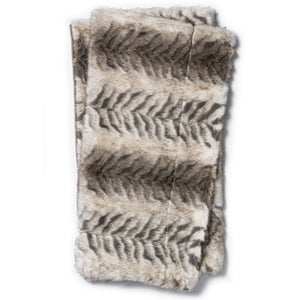 Shabby Chic Gray and White Faux Fur Throw Blanket