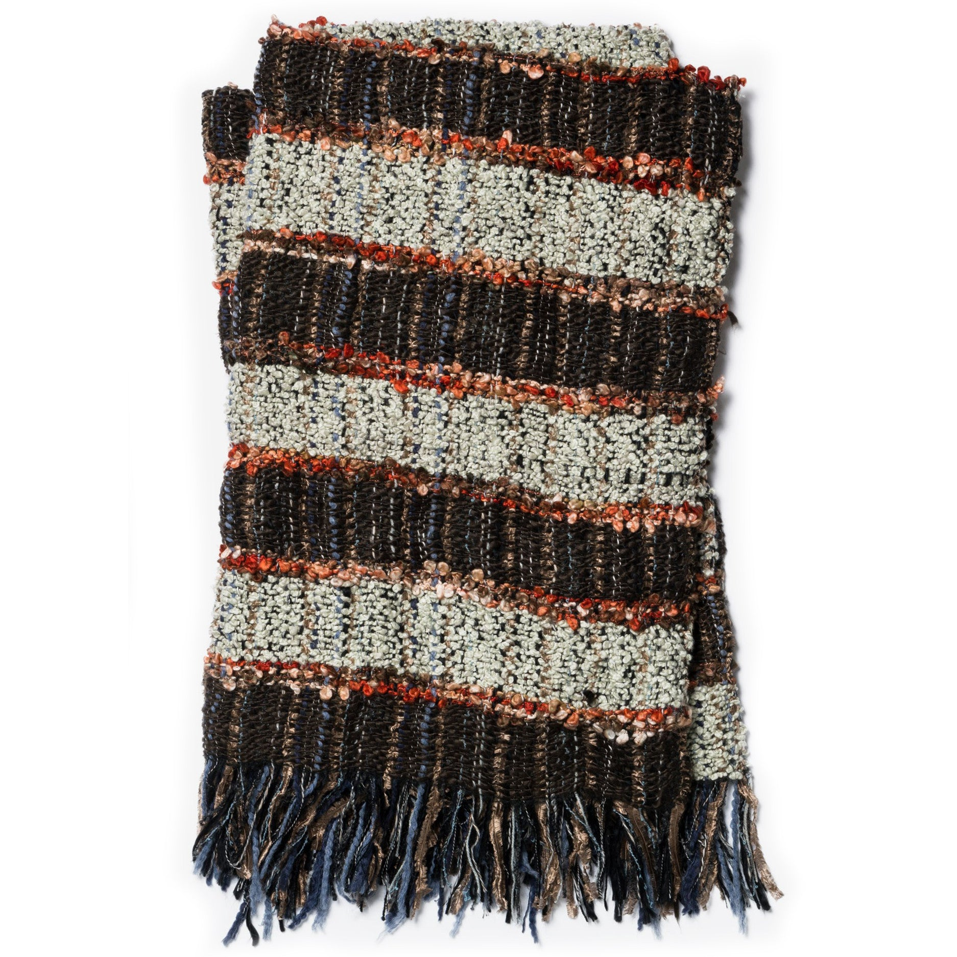 trendy woven brown and gray throw blanket