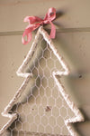 White Wash Willow and Wire Christmas Tree with Ribbon - Set of 6