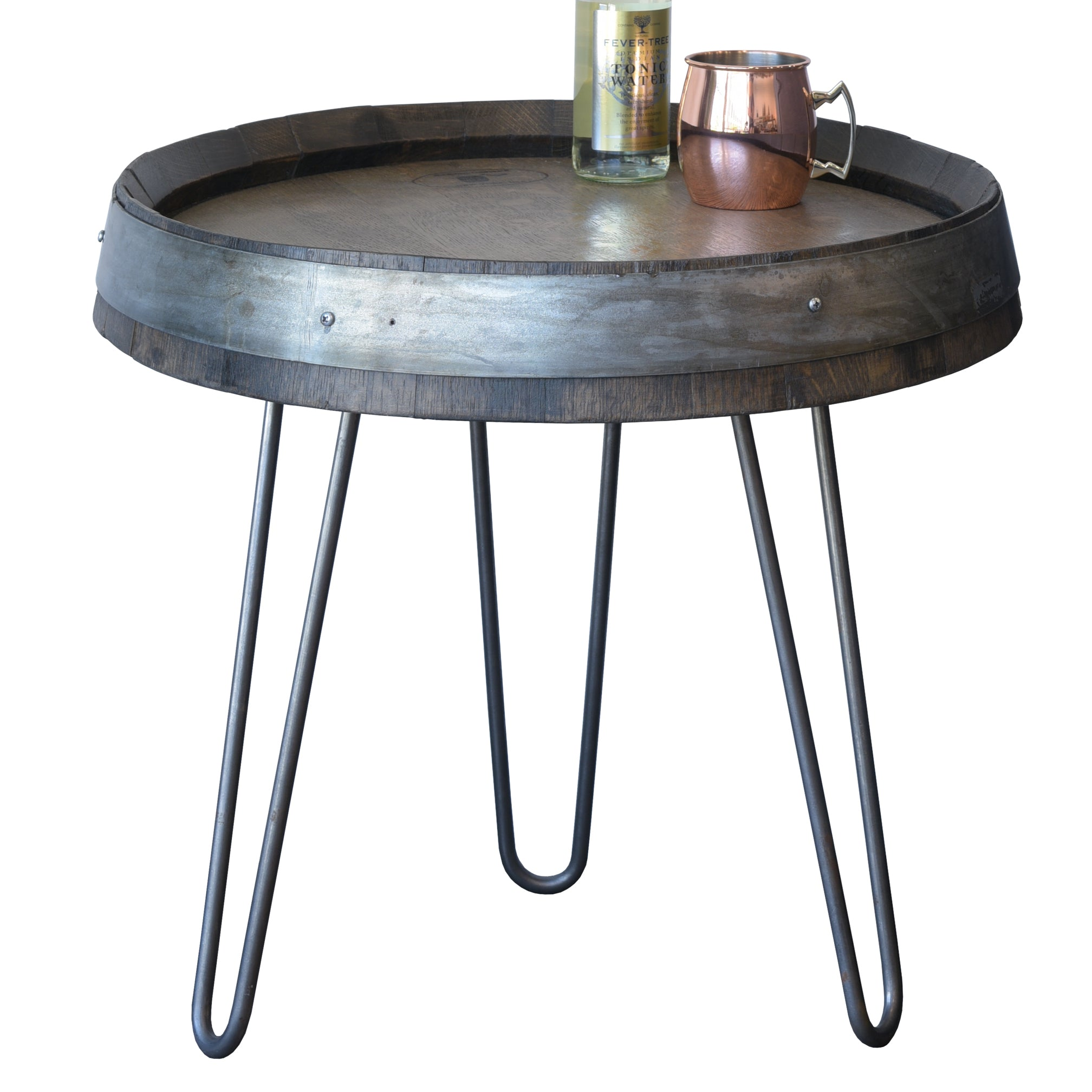 Wine Barrel End Table With Hairpin Legs - Ebony