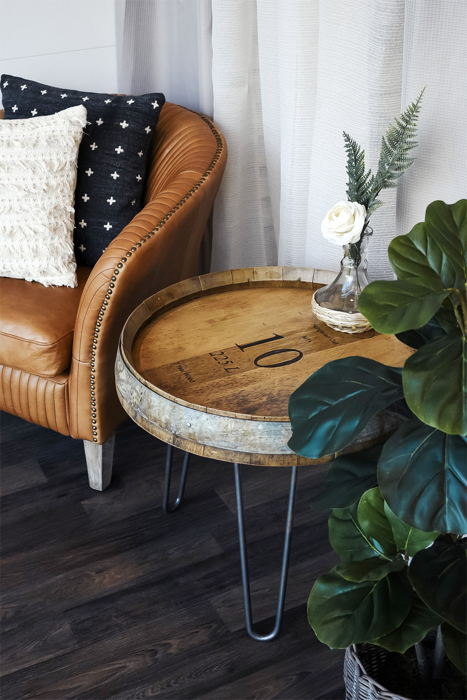 Wine Barrel End Table With Hairpin Legs - Natural