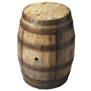 Wine Barrel End Table With Storage