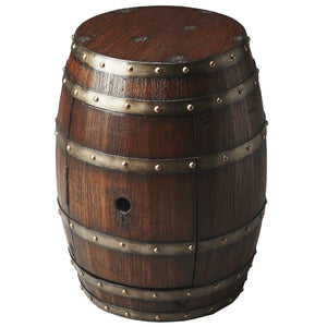 Wine Barrel Replica Dark Brown End Table