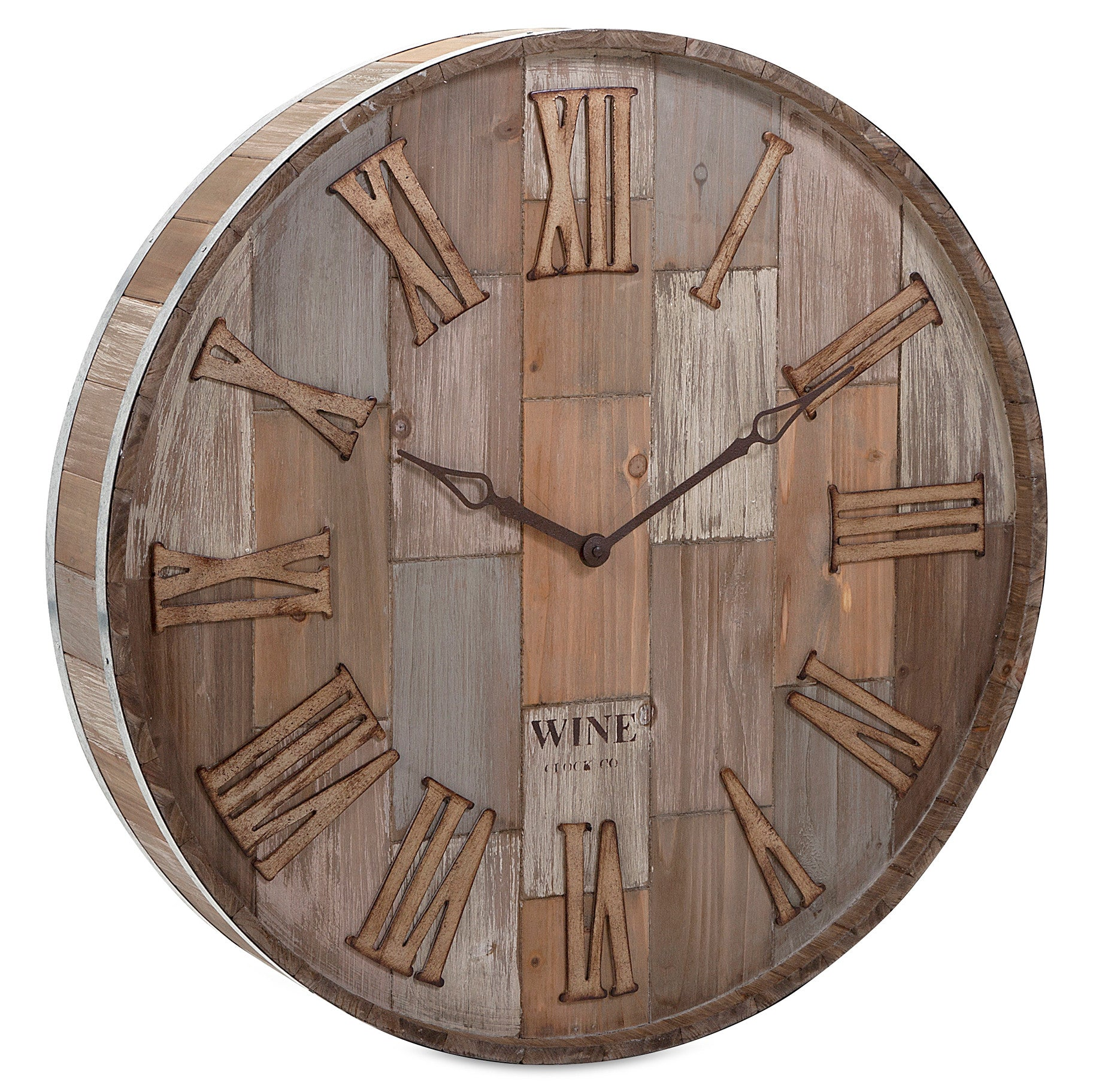 Modern rustic wall clocks woodwaves rustic wood wine barrel style wall clock amipublicfo Image collections