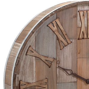 Rustic Wood Wine Barrel Style Wall Clock
