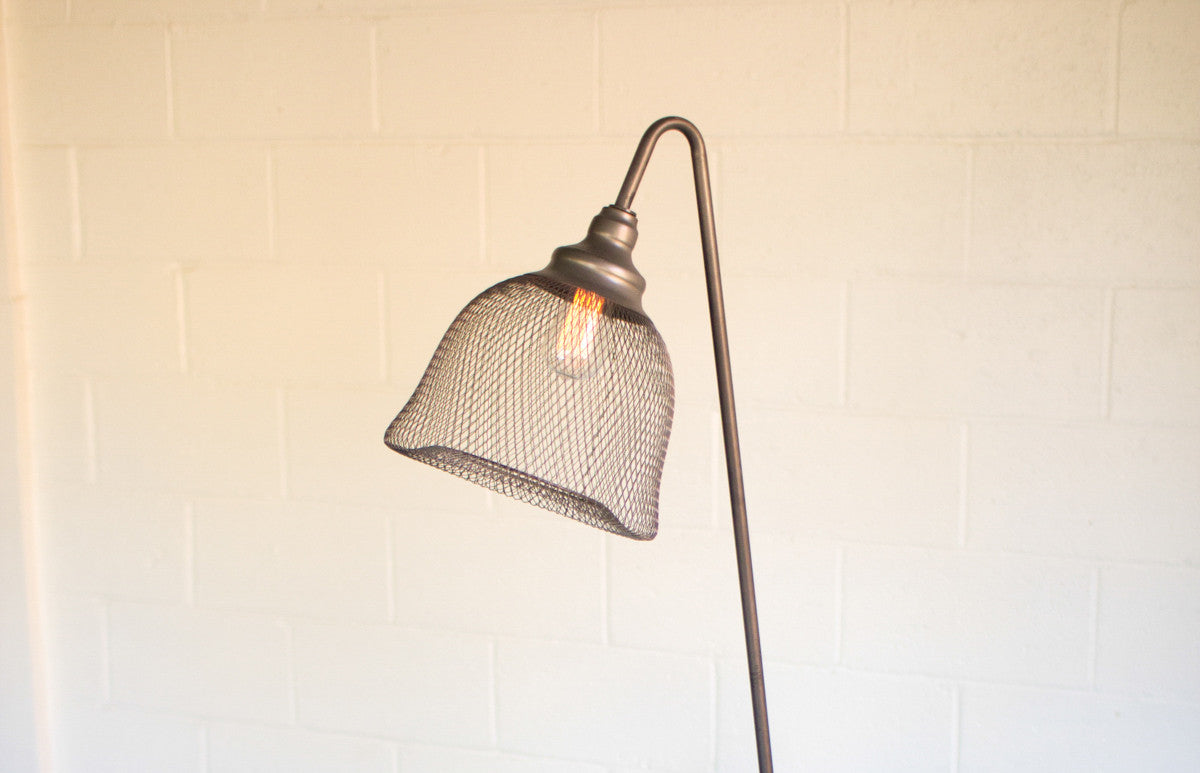 Industrial modern edison floor lamp with wire mesh shade woodwaves industrial modern edison floor lamp with wire mesh shade greentooth Gallery