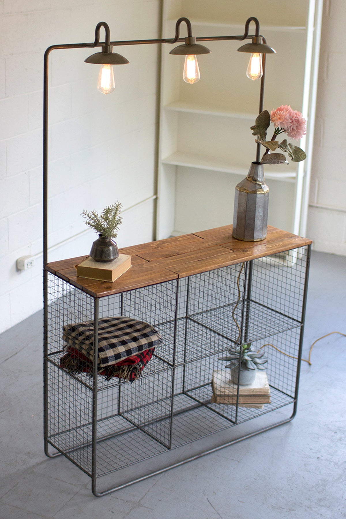 Industrial Modern Wire Storage Cubbies With Wood Shelf and Lamps