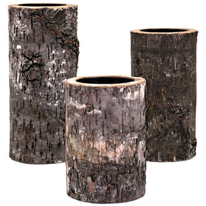 Wood Bark Rustic Candle Holders - Set of 3