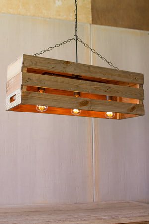 Wood Crate Edison 3 Light Chandelier