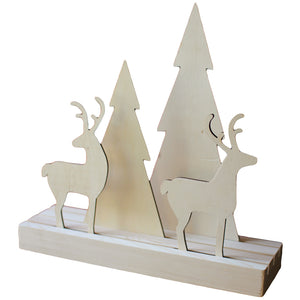 Wood Deer and Christmas Tree Holiday Tabletop Shelf Decor - Set of 2