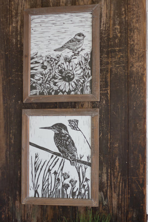 Wood Framed Black and White Bohemian Bird Prints - Set of Two
