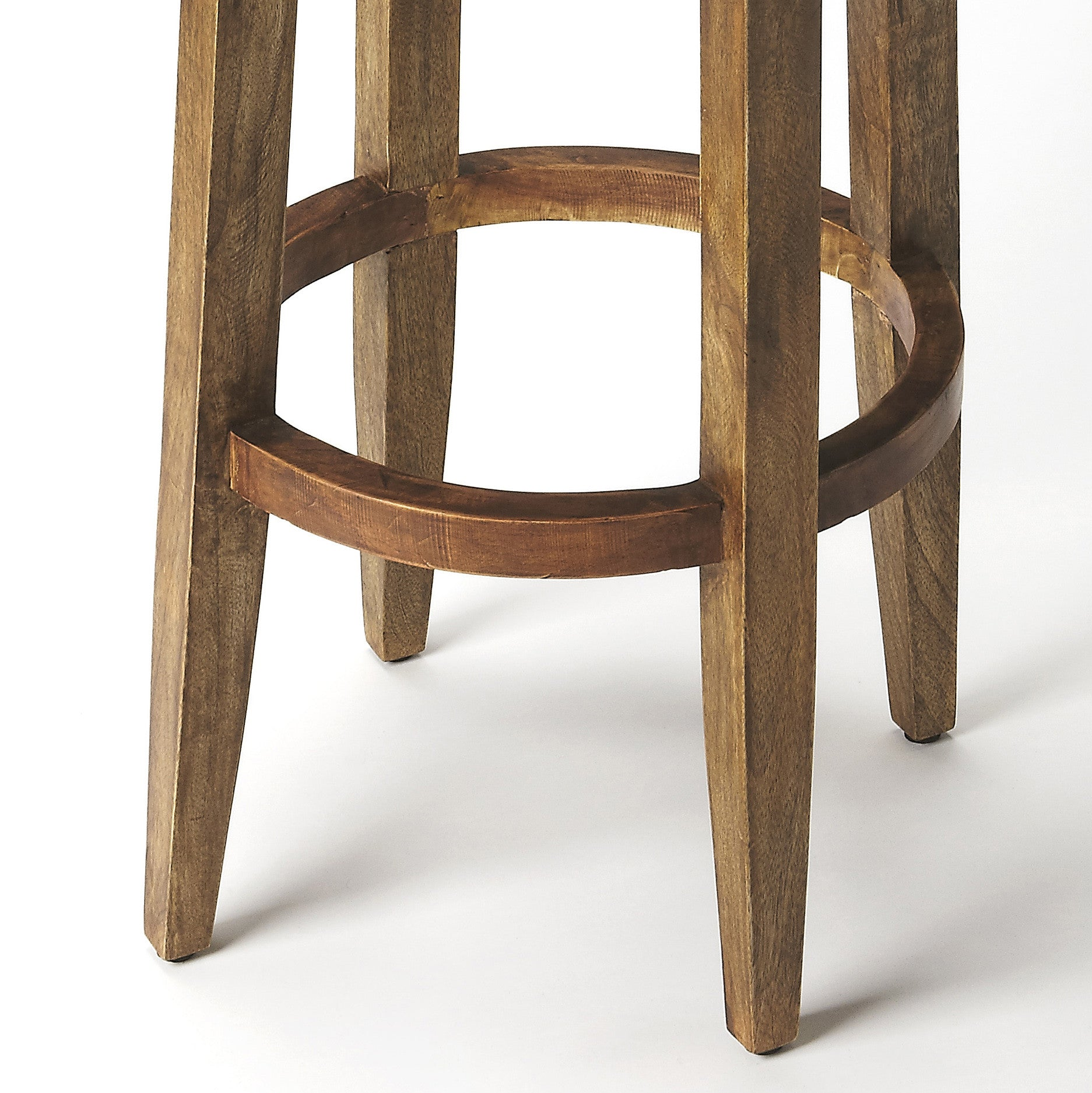 Rustic industrial modern wood and leather bar stool for Rustic industrial