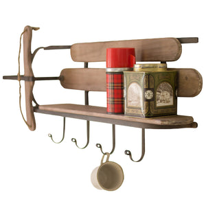 Wood Sled Style Wall Shelf