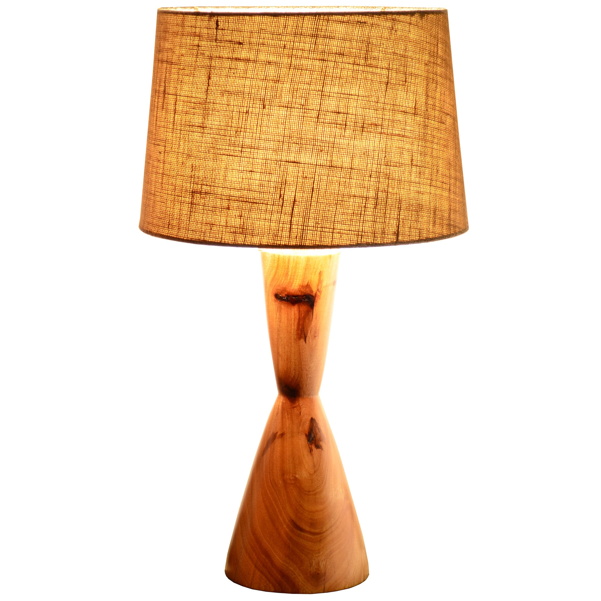 Wood Turned Mid Century Modern Table Lamp   Hourglass Natural