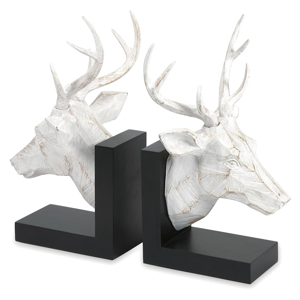 White Washed Deer Head Bookends