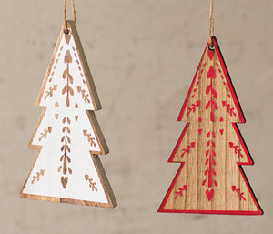 Wooden Tree Christmas Ornaments