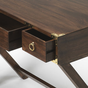 Coastal Wood and Brass Desk