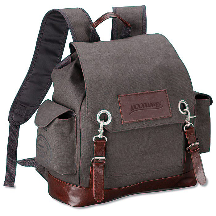 Woodwaves Gray Canvas Vintage Style Rucksack Backpack