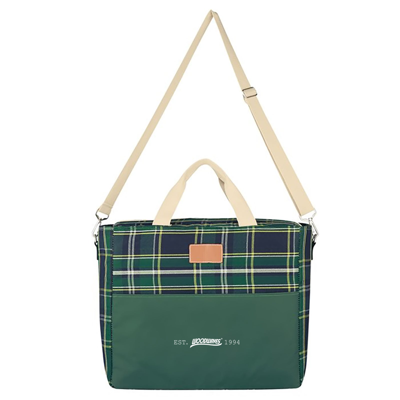 Woodwaves Green Plaid and Tan Insulated Cooler Tote Bag