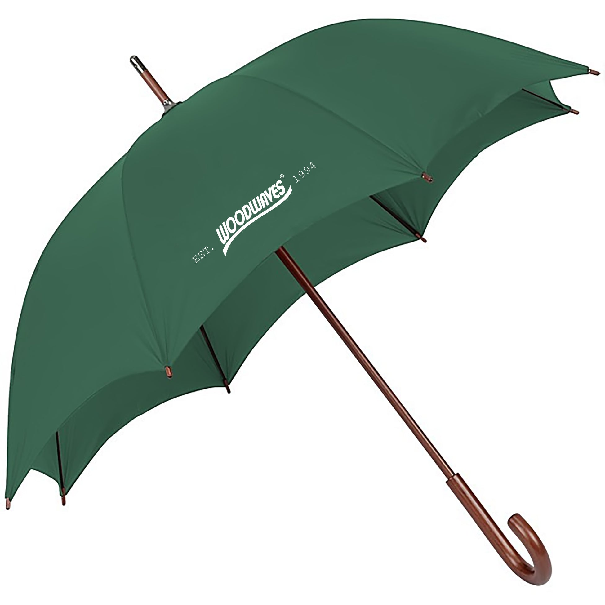 Woodwaves Hunter Green Wood Handle Auto Open Umbrella
