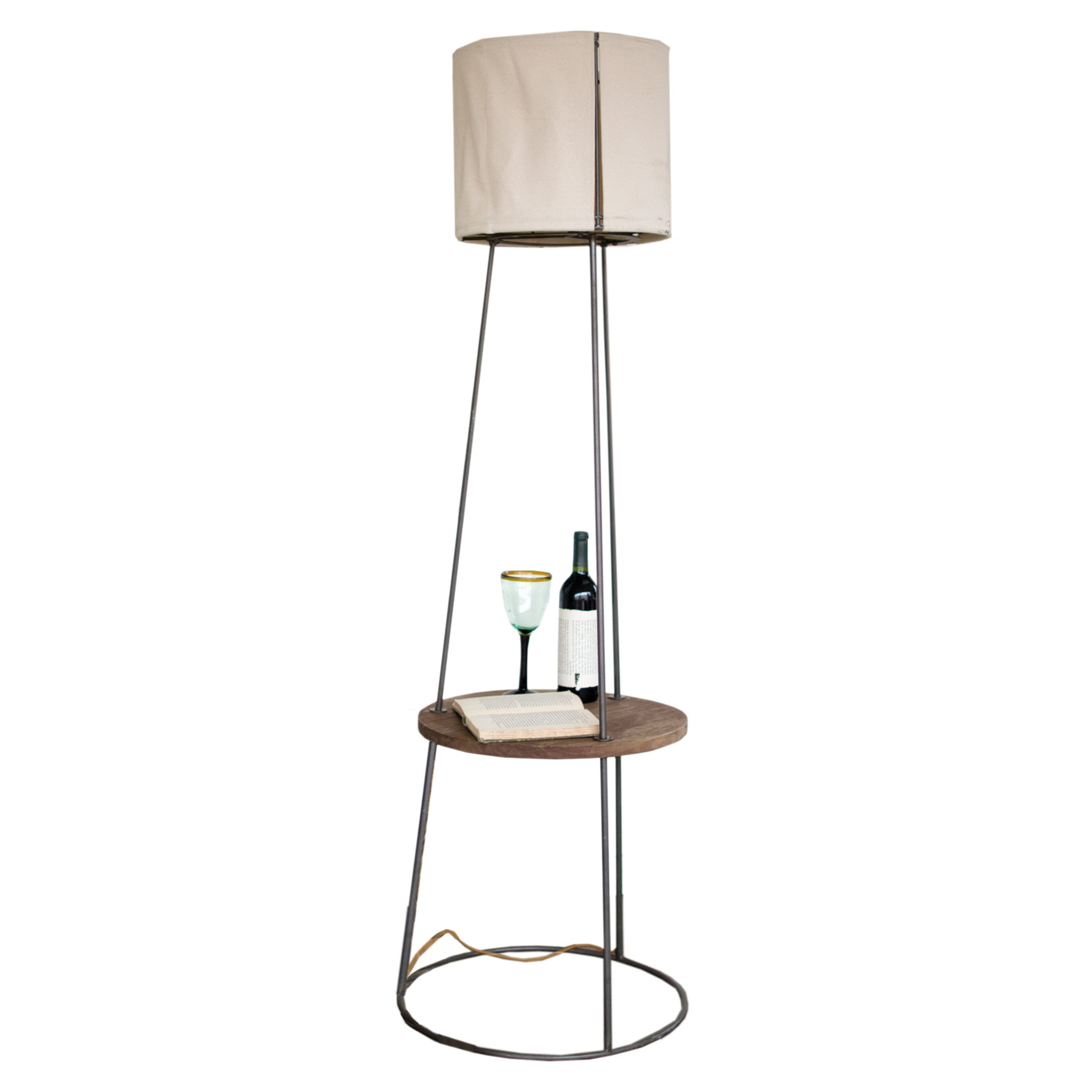 Industrial Modern Metal and Wood Floor Lamp With Side Table