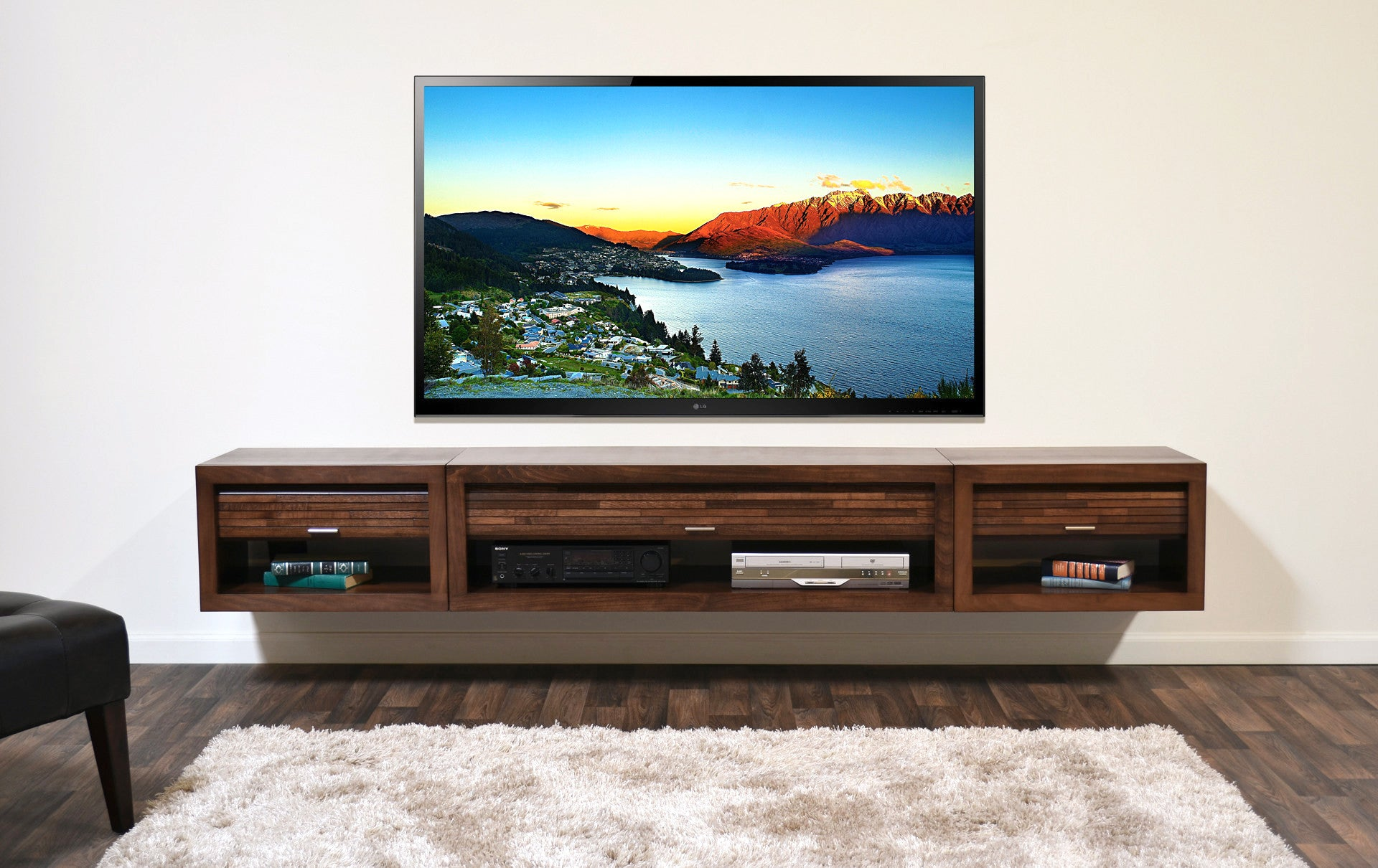 wall mounted floating tv stand entertainment center eco geo mocha - Tv Stands Entertainment Centers