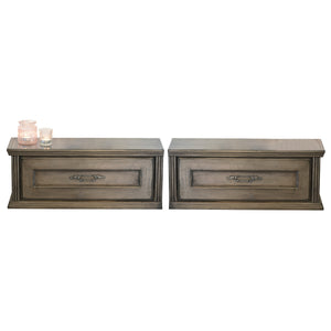 Gray Slim Floating Nightstands Wall Mount Shabby Chic Drawers
