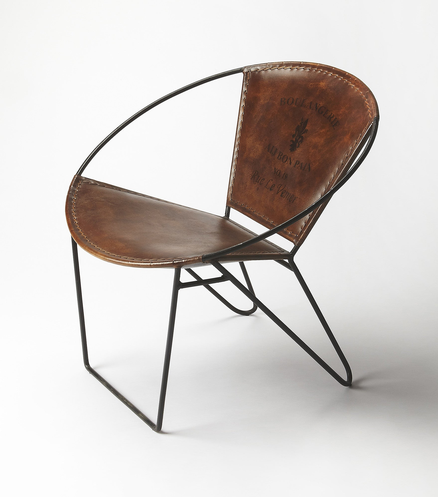 round industrial modern iron and leather accent chair  woodwaves - round industrial modern iron and leather accent chair