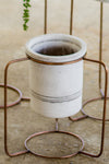 Set of 3 Southwest Copper Finish Plant Stands With White Wash Pots
