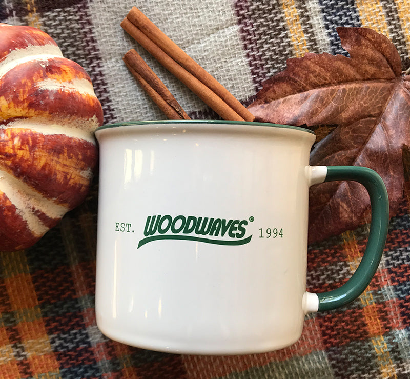 Woodwaves Camping Style Coffee Mug White and Forest Green