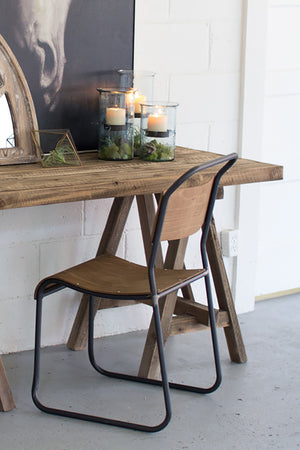 Rustic Reclaimed Wood Sawhorse Desk