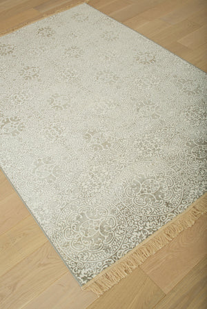 Faded Silver Gray and Ivory Transitional Fringe Rug